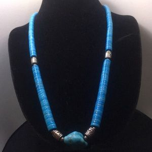 Jewelry - Turquoise Blue and Silver Bead Necklace
